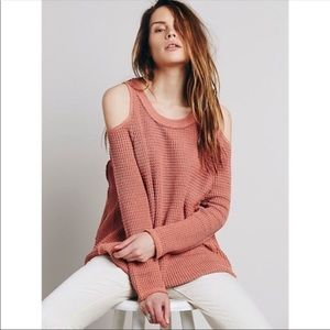Free People | Sunset Cold Shoulder Pink Sweater